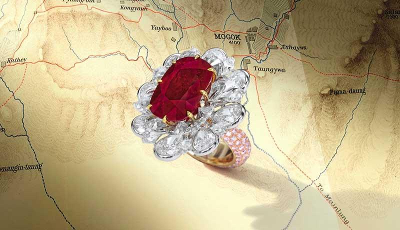 кольцо с 24,7 каратным бирманским рубином